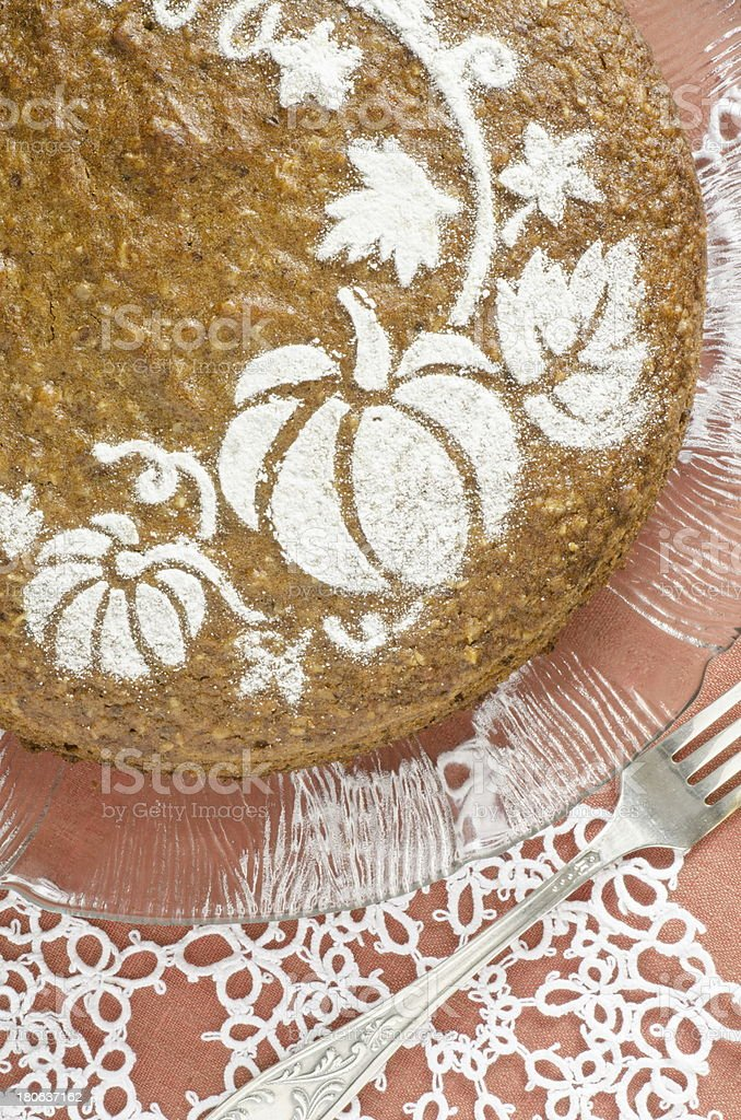 Pumpkin cake on red background royalty-free stock photo