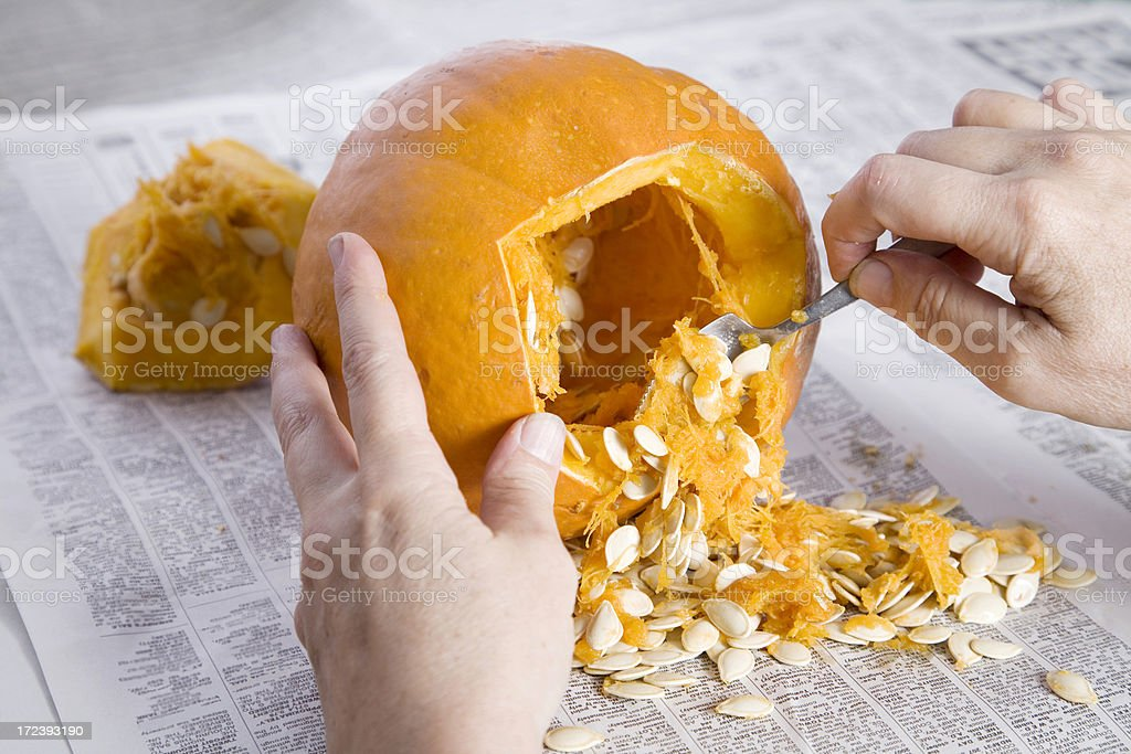 Pumpkin Carving for Halloween stock photo