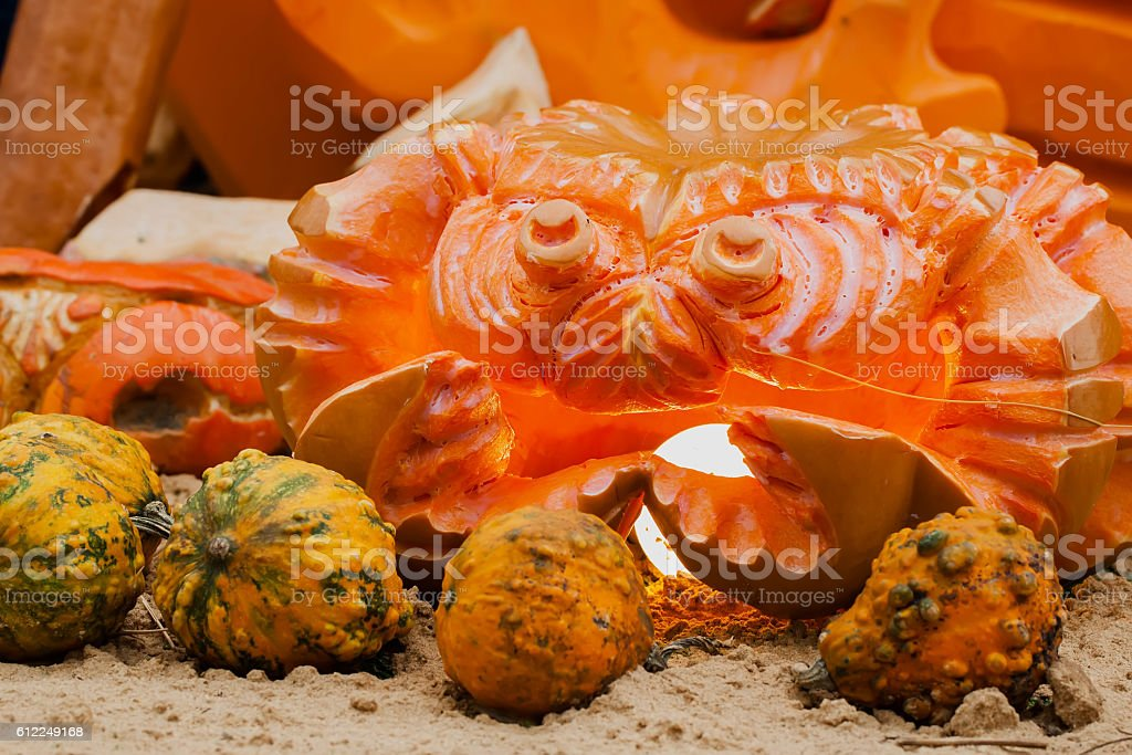 Pumpkin carving in the shape of a crab, luminous lantern stock photo