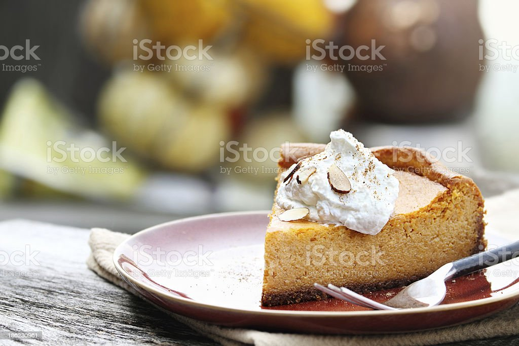 Pumpkin Cheesecake Pie stock photo