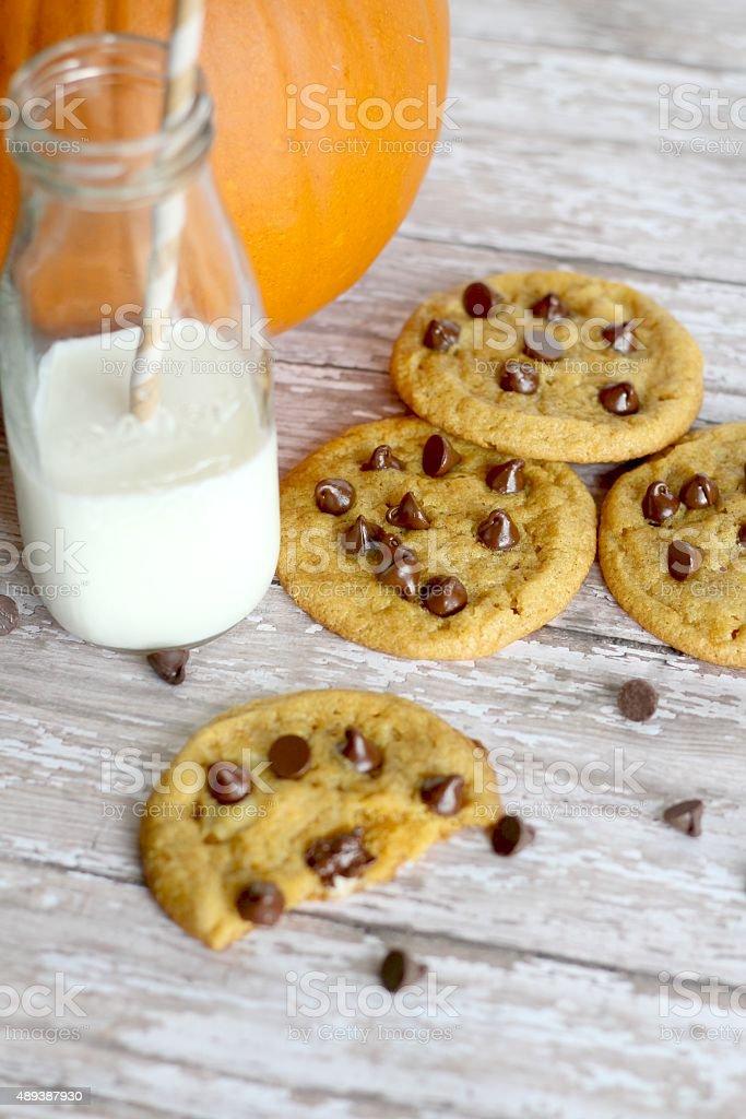 Pumpkin Chocolate Chip Cookies stock photo
