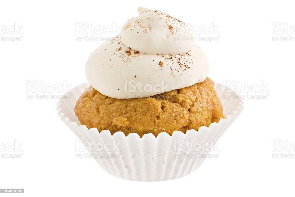 Pumpkin Cupcake With Marshmallow Frosting stock photo