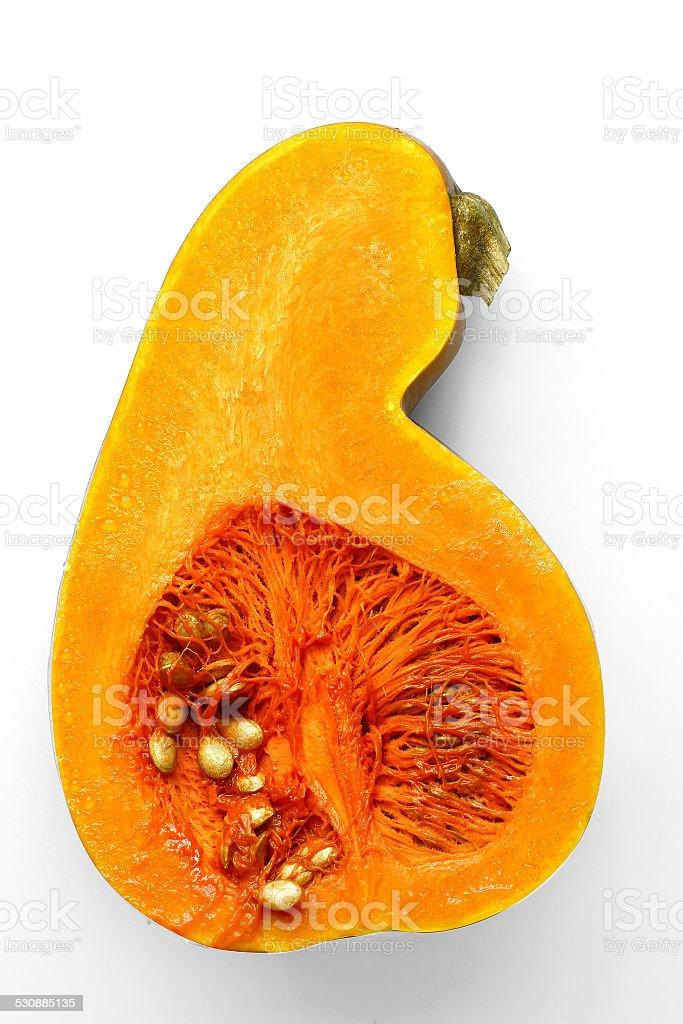 pumpkin cut in half stock photo