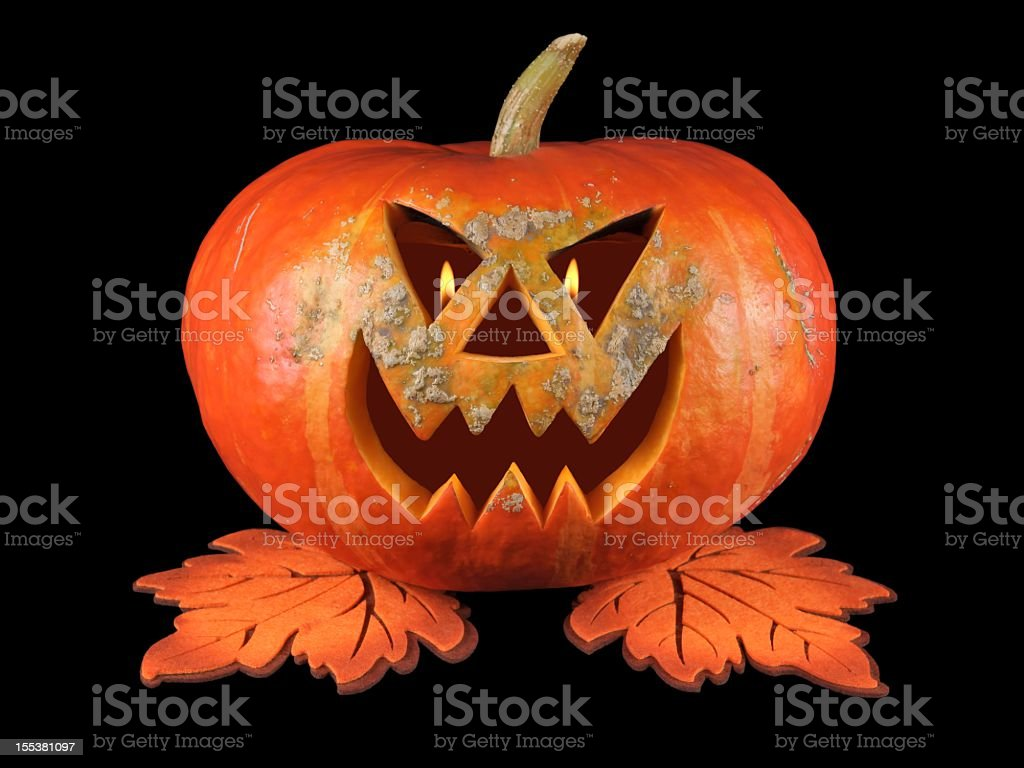 Pumpkin, halloween, old jack-o-lantern on black background stock photo