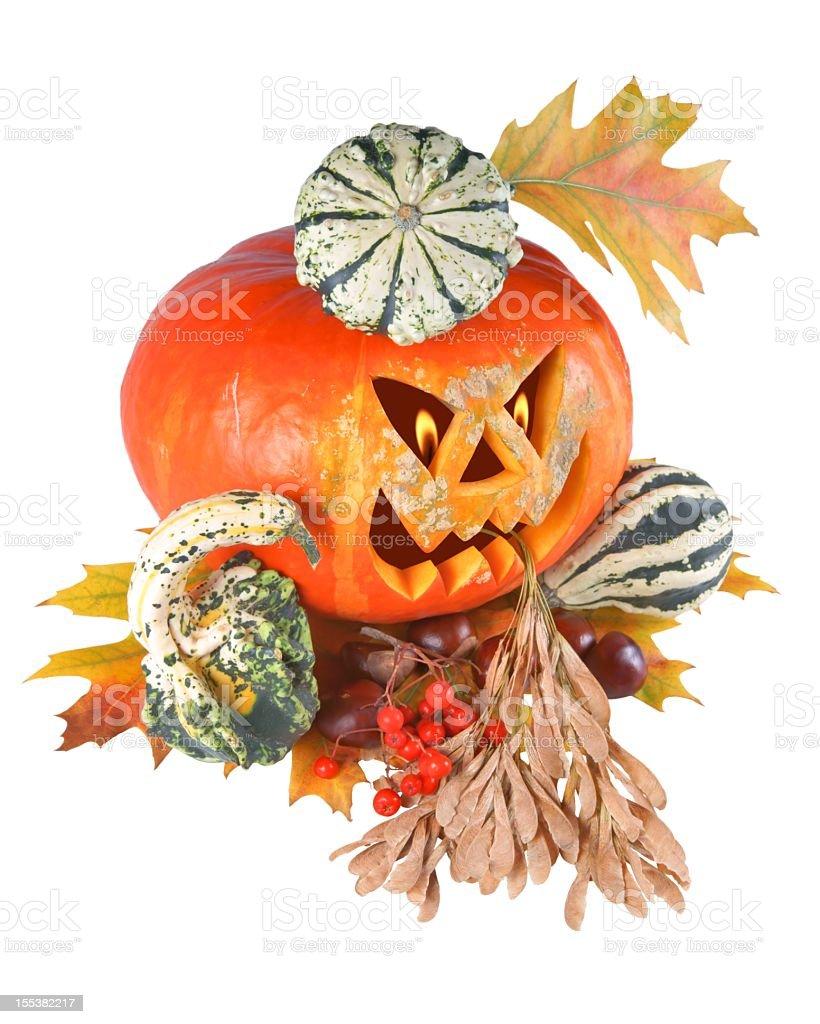 Pumpkin, halloween, old jack-o-lantern on white background stock photo