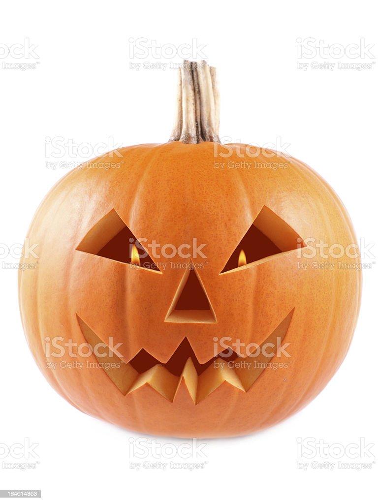 Pumpkin, halloween, old jack-o-lantern on white background royalty-free stock photo