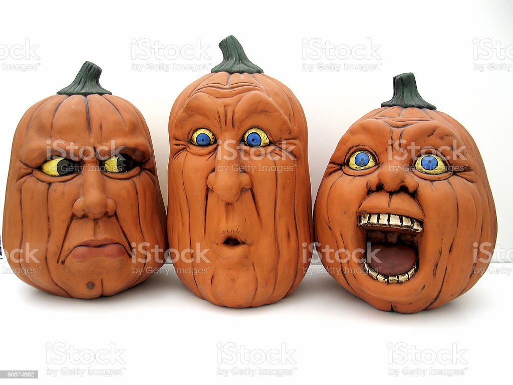 3 Pumpkin Heads royalty-free stock photo