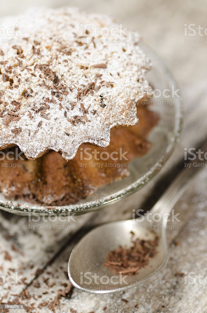 Pumpkin muffins on saucer, blurred background royalty-free stock photo