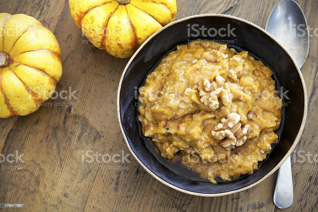 Pumpkin oatmeal stock photo