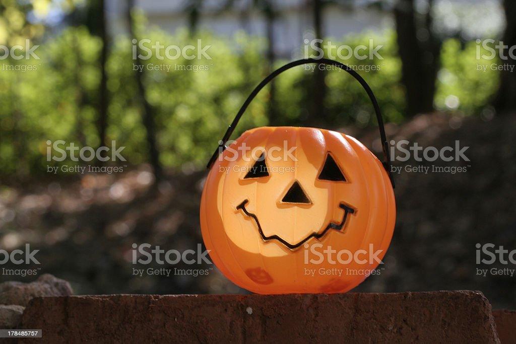 pumpkin on brick H royalty-free stock photo