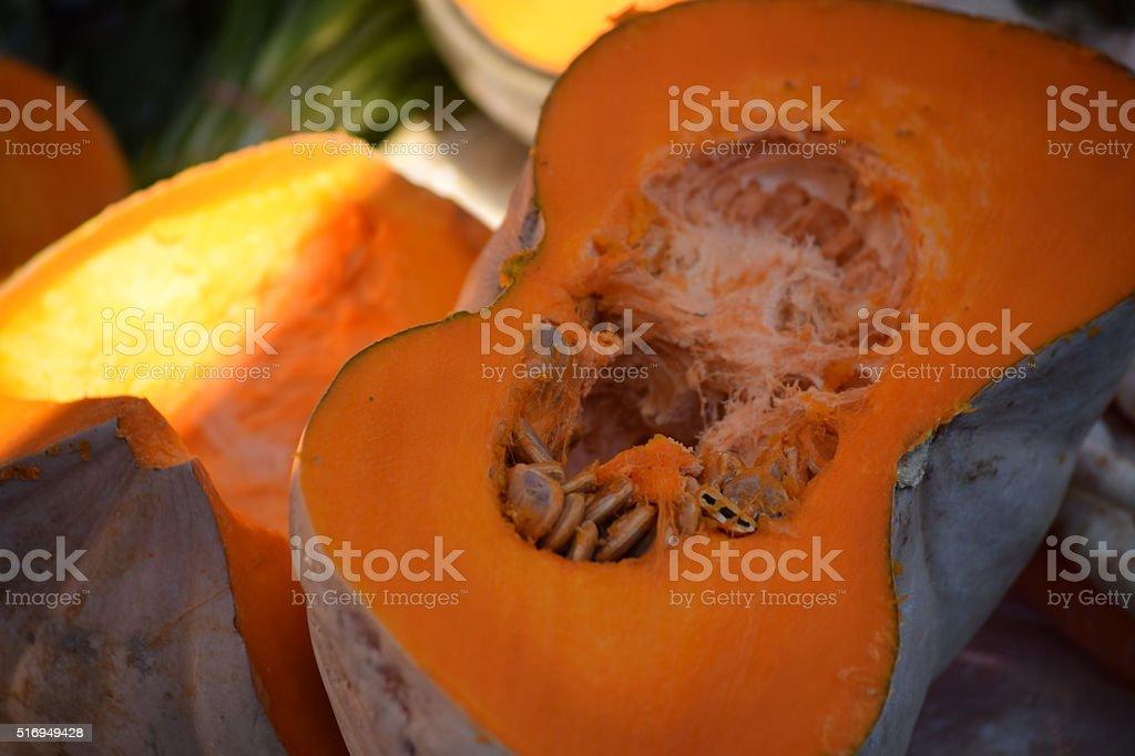 Pumpkin on the market stall stock photo