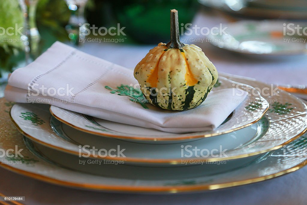Pumpkin on the plate foto de stock libre de derechos