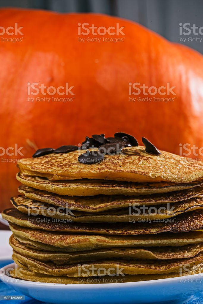 Pumpkin pancakes with chocdrops stock photo