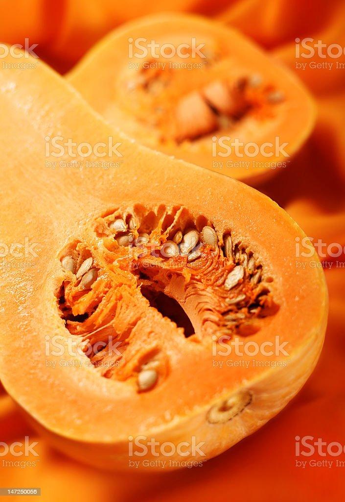 Pumpkin part on orange royalty-free stock photo