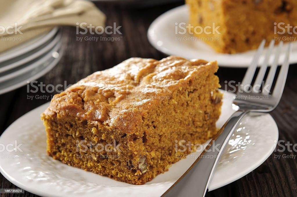 Pumpkin Pecan and Coconut Cake stock photo