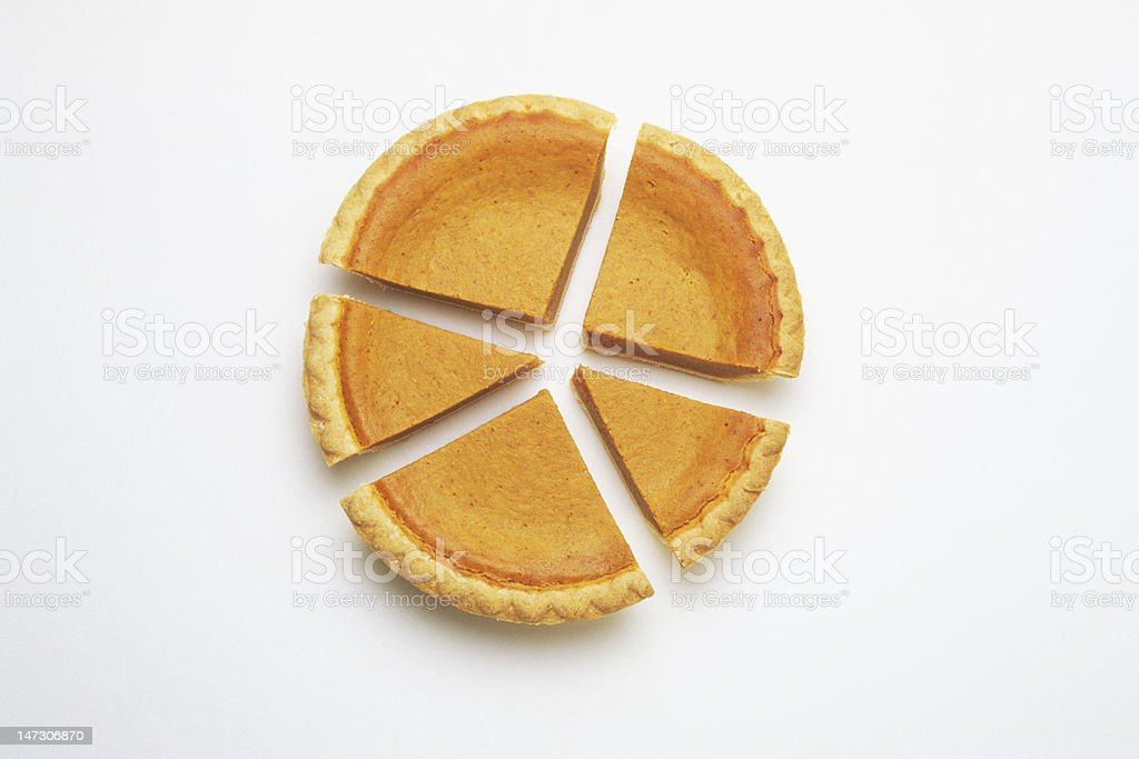 pumpkin pie chart sliced in sections stock photo