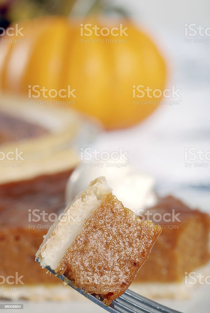 pumpkin pie on a fork royalty-free stock photo