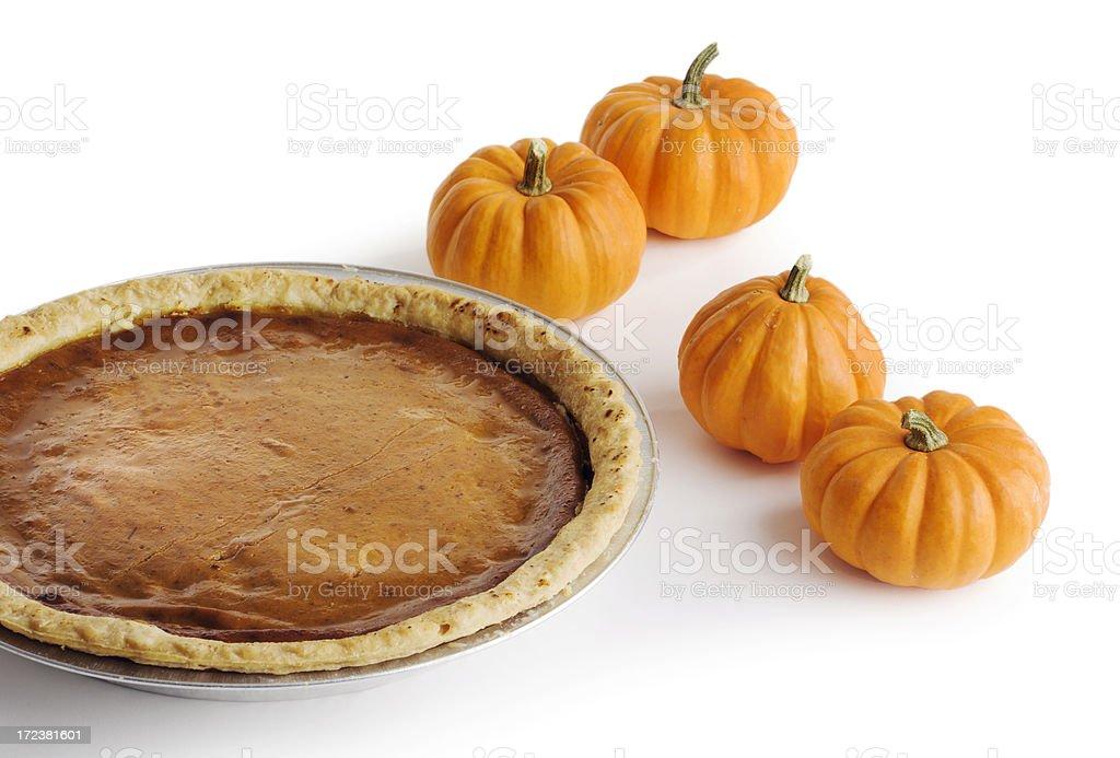 Pumpkin Pie on White Hz royalty-free stock photo