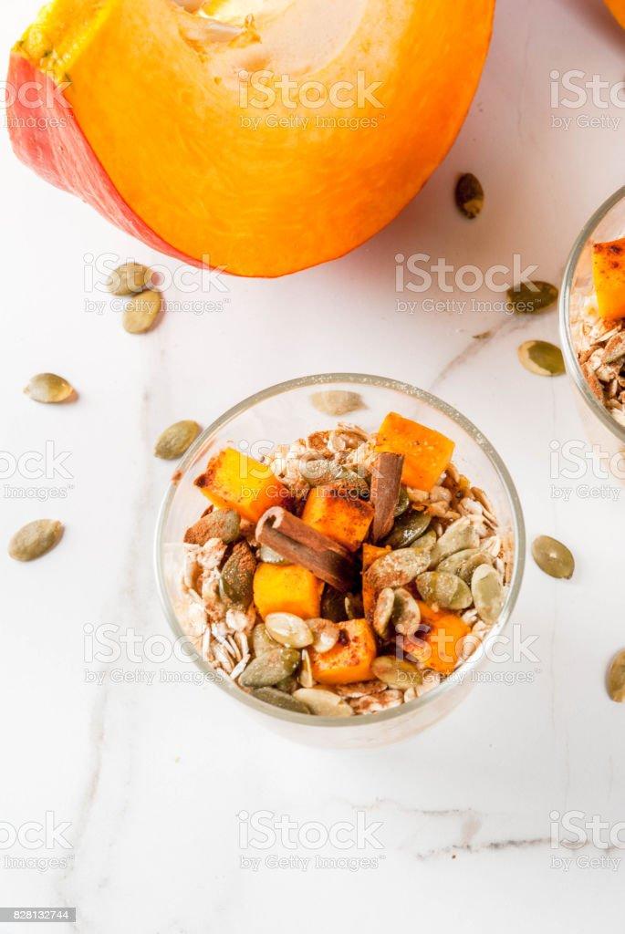 Pumpkin pie overnight oatmeal stock photo