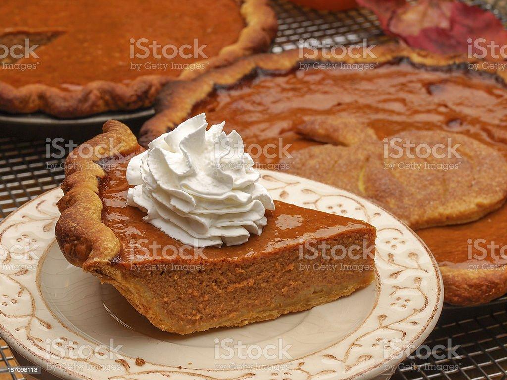 Pumpkin PIe Serving royalty-free stock photo