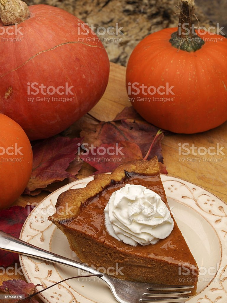 Pumpkin PIe Serving royalty-free stock photo