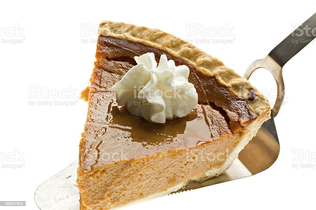Pumpkin Pie Slice With Cream On Server stock photo