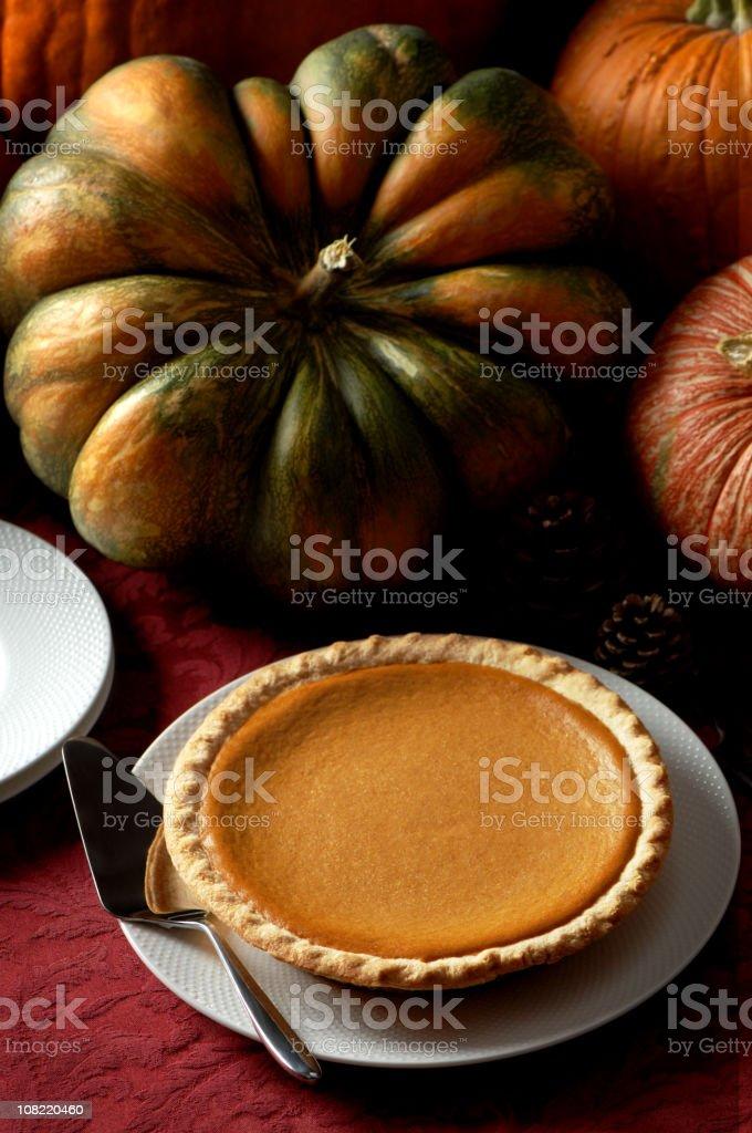 Pumpkin Pie with Pumpkins royalty-free stock photo