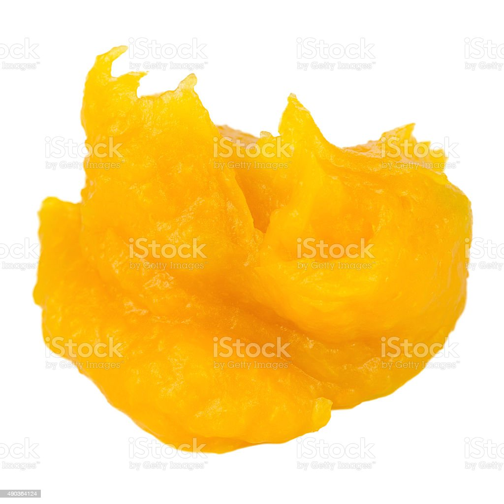 Pumpkin Puree Isolated on White Background stock photo