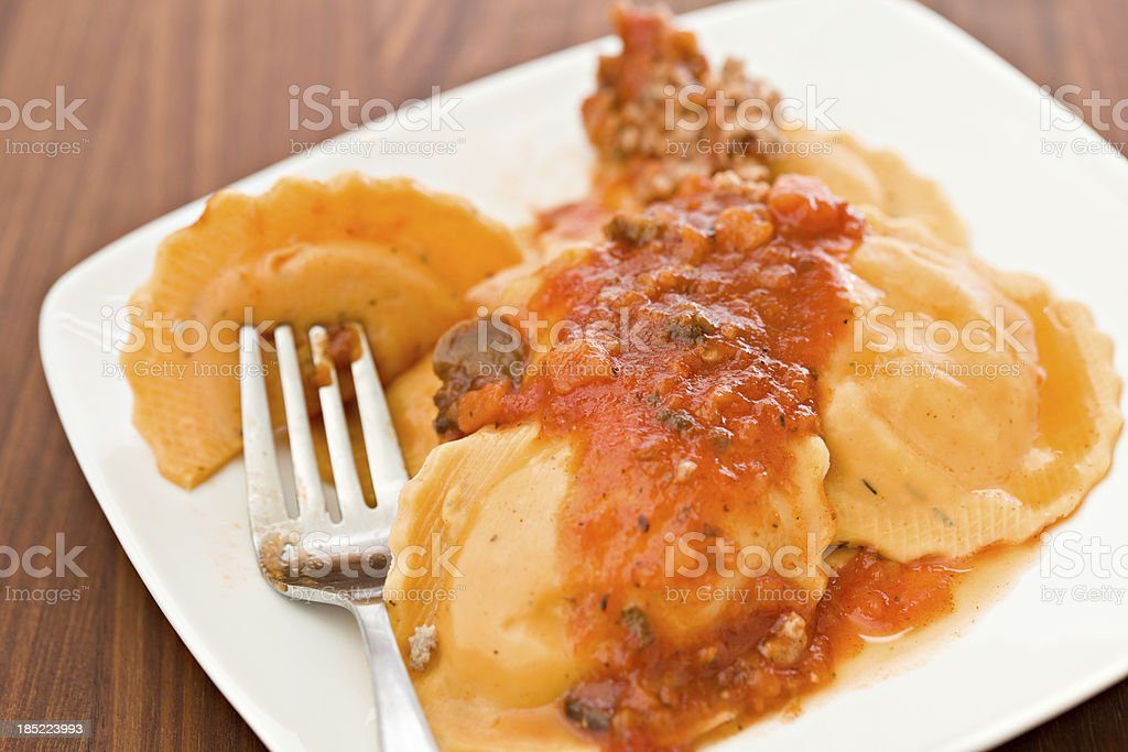 Pumpkin Ravioli On A Plate stock photo
