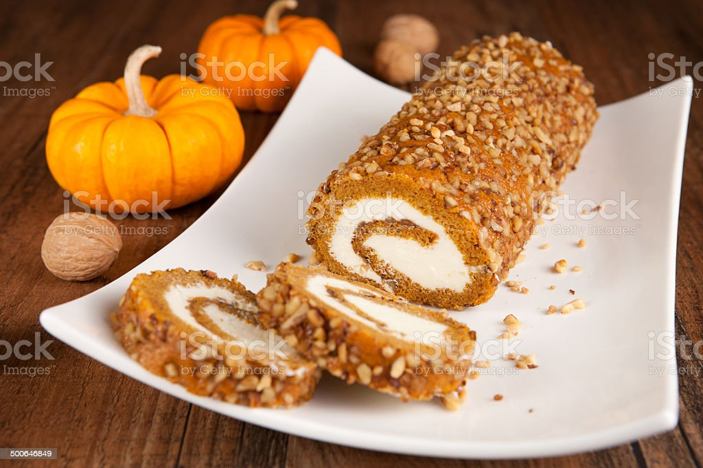 Pumpkin roll stock photo