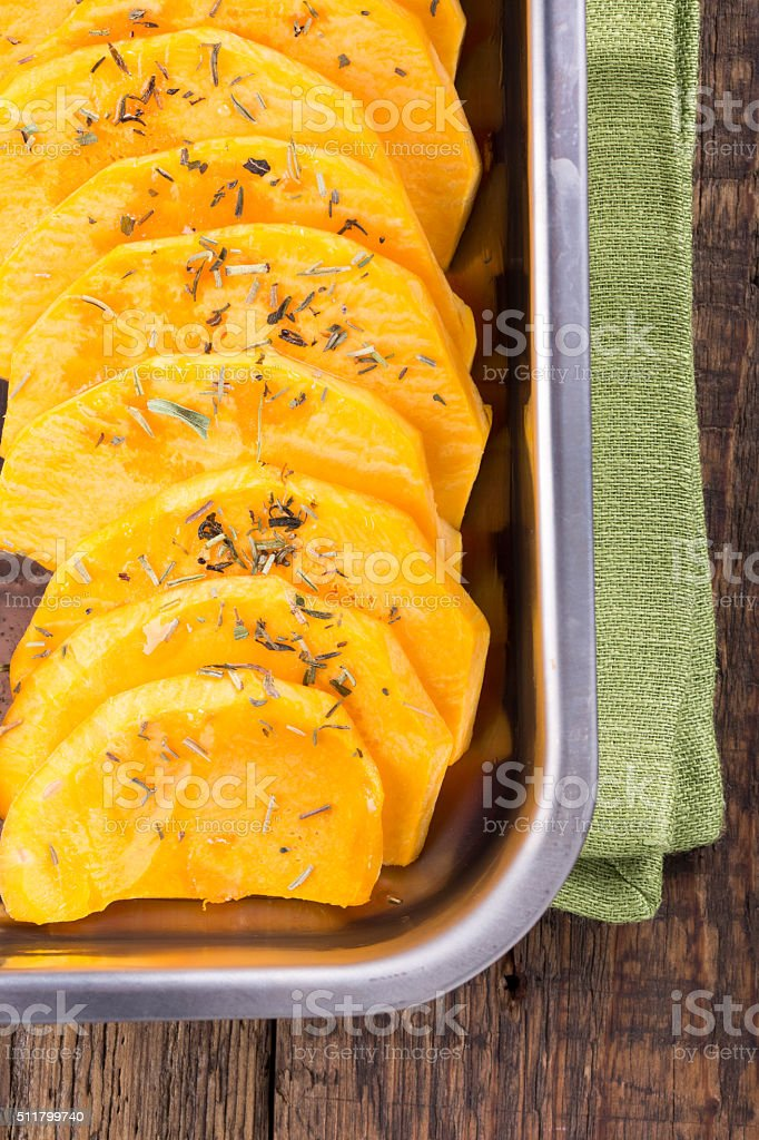 Pumpkin slices stock photo