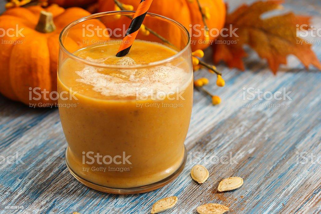 Pumpkin smoothie milk shake stock photo