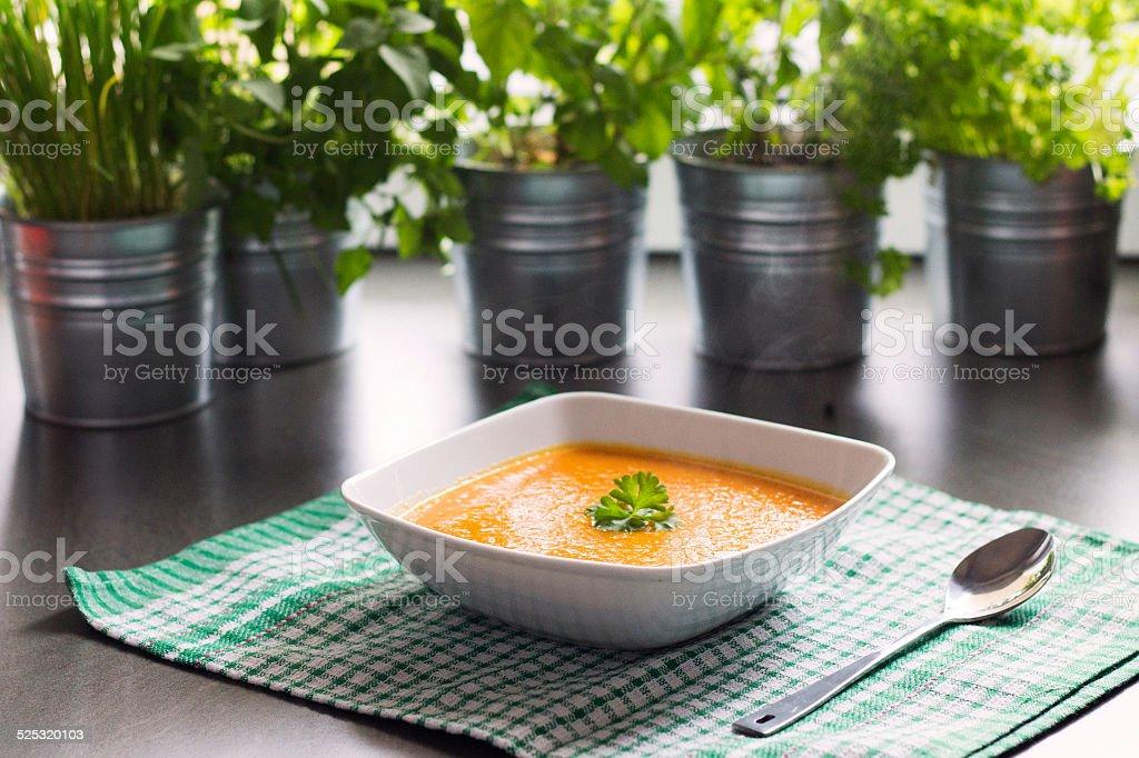 Pumpkin soup bowl stock photo
