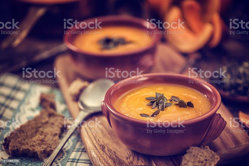 Pumpkin Soup for Autumn Days stock photo