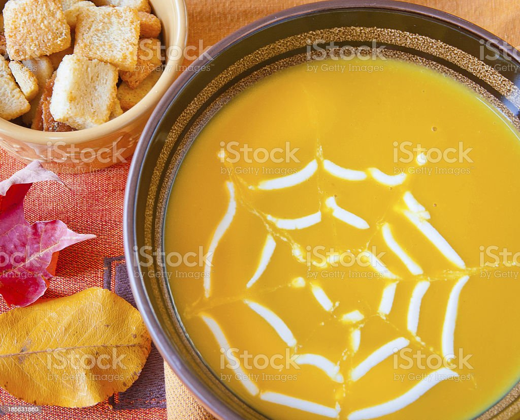 Pumpkin soup in a bowl. stock photo
