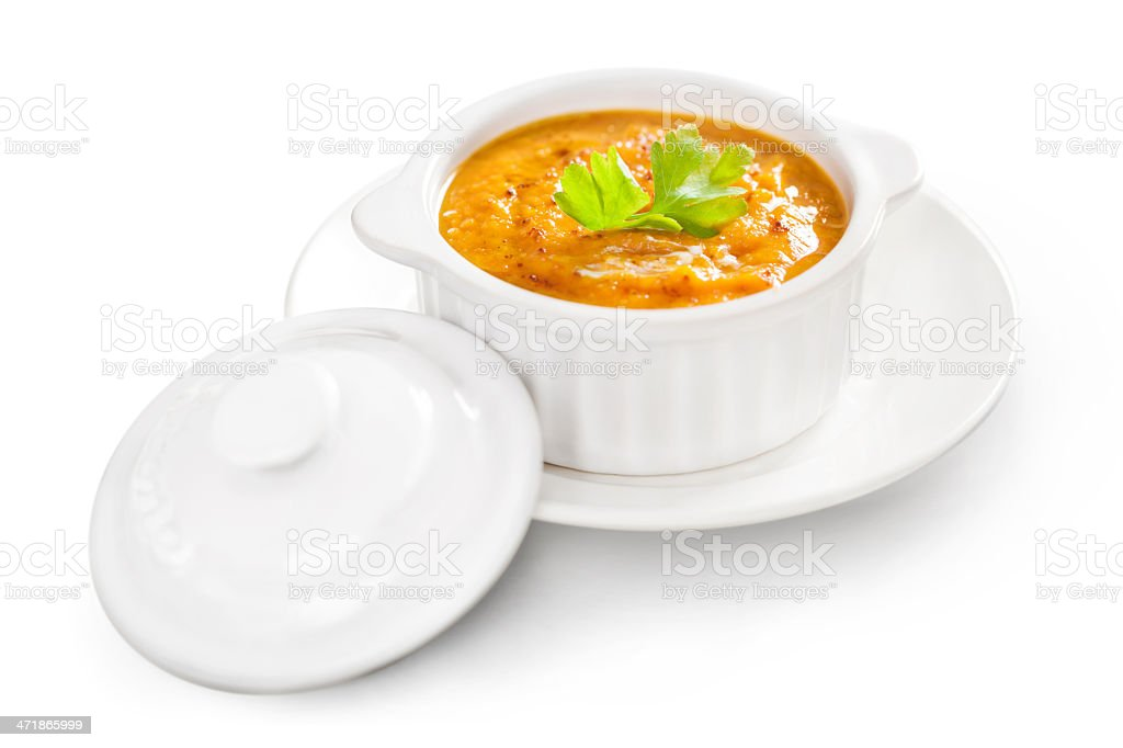 Pumpkin soup isolated royalty-free stock photo