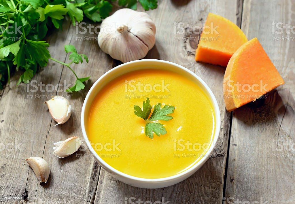 Pumpkin soup, top view stock photo