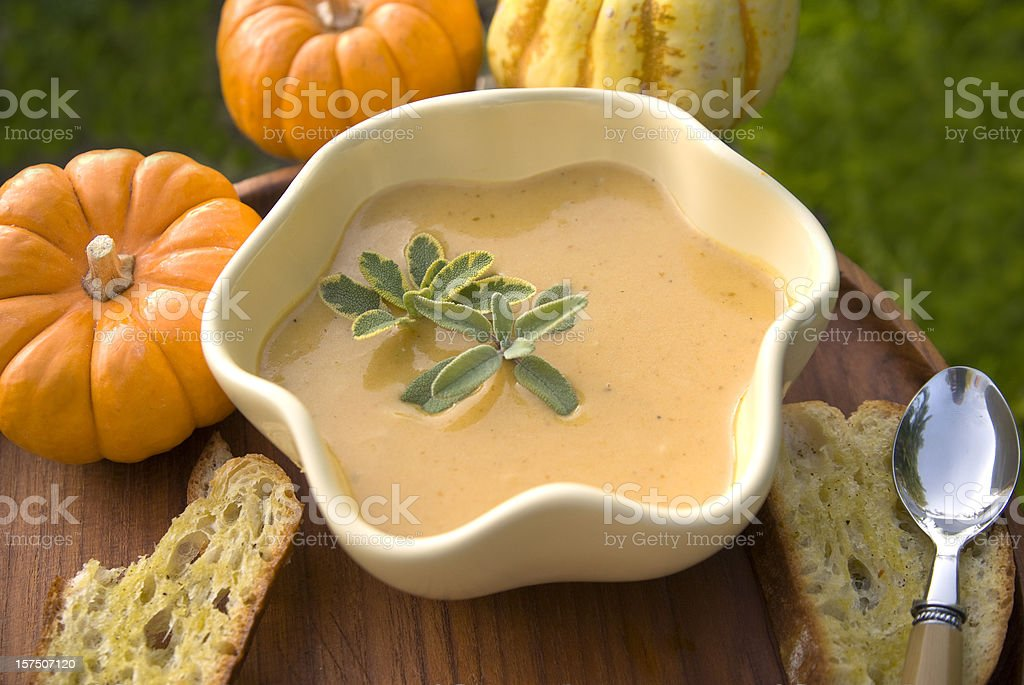 Pumpkin Soup & Vegetarian Thanksgiving Dinner, Autumn & Halloween Food stock photo