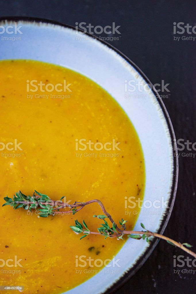 Pumpkin Soup with ginger and Coconut Milk stock photo