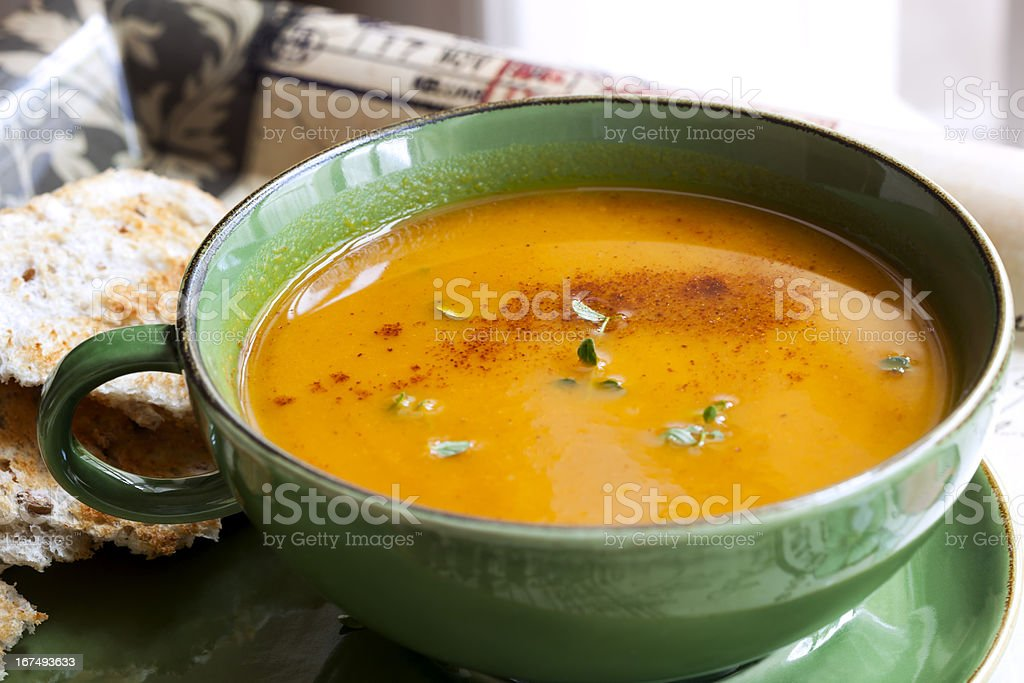 Pumpkin Soup with Paprika and Thyme stock photo