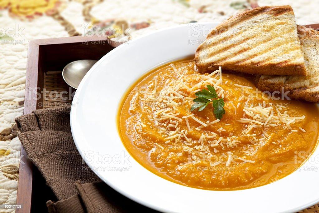 Pumpkin Soup with Parmesan stock photo