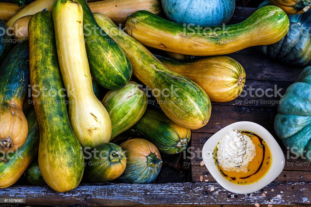 pumpkin soup with whipped cream stock photo