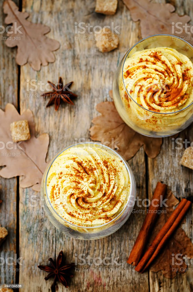 pumpkin spice cheesecake mousse stock photo