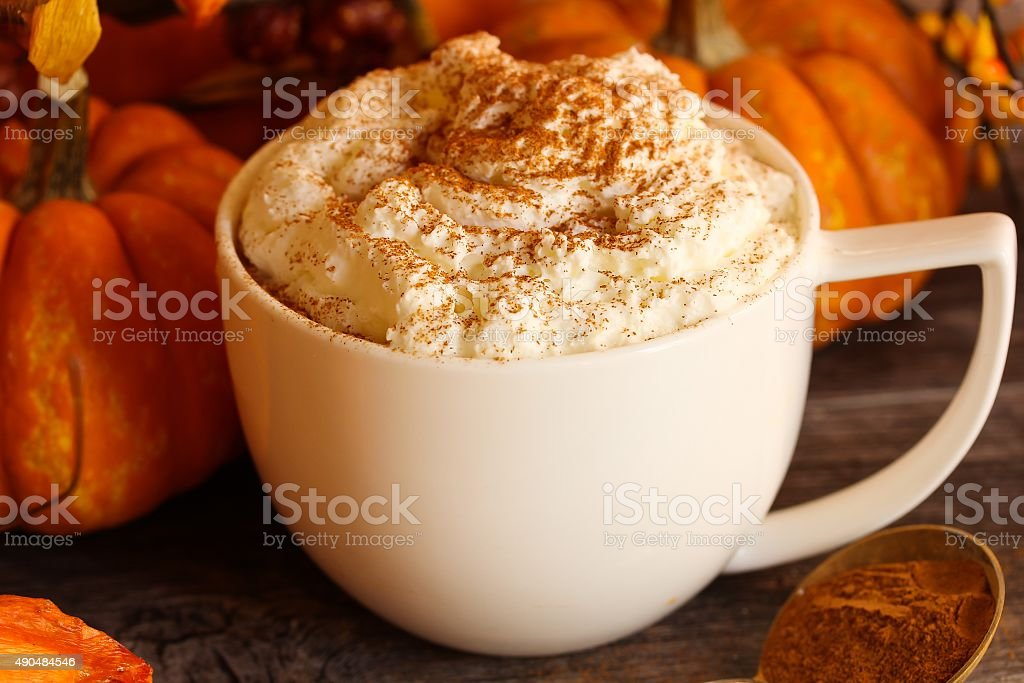 Pumpkin Spice latte for fall and winter weather stock photo
