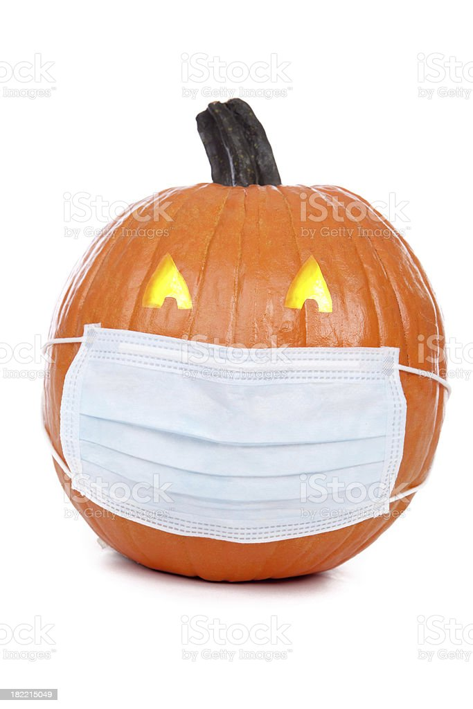 Pumpkin Wearing Flu Mask royalty-free stock photo