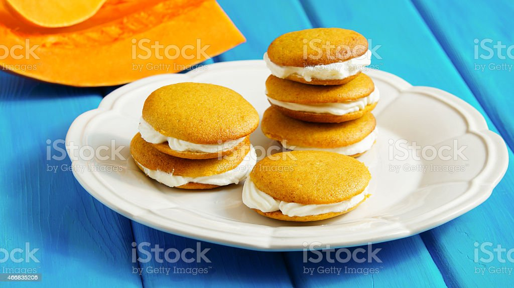 Pumpkin Whoopie - pumpkin cake with ricotta and mascarpone cream stock photo