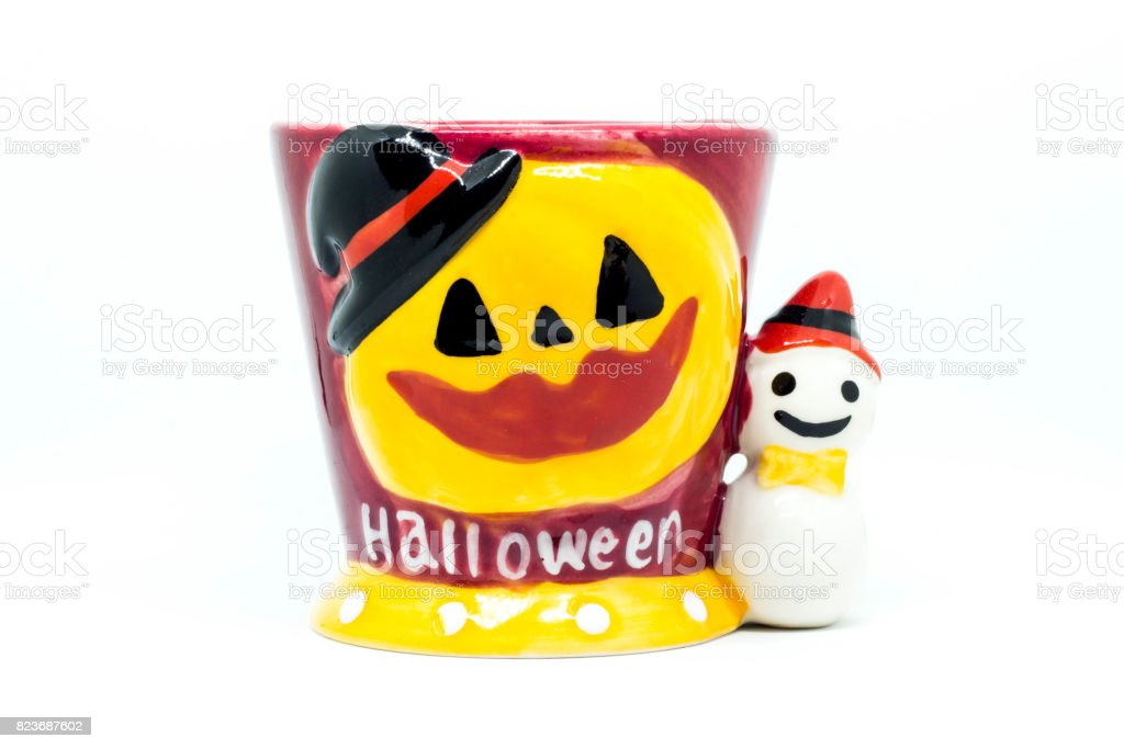Pumpkin with a potted tree Halloween on a white background stock photo