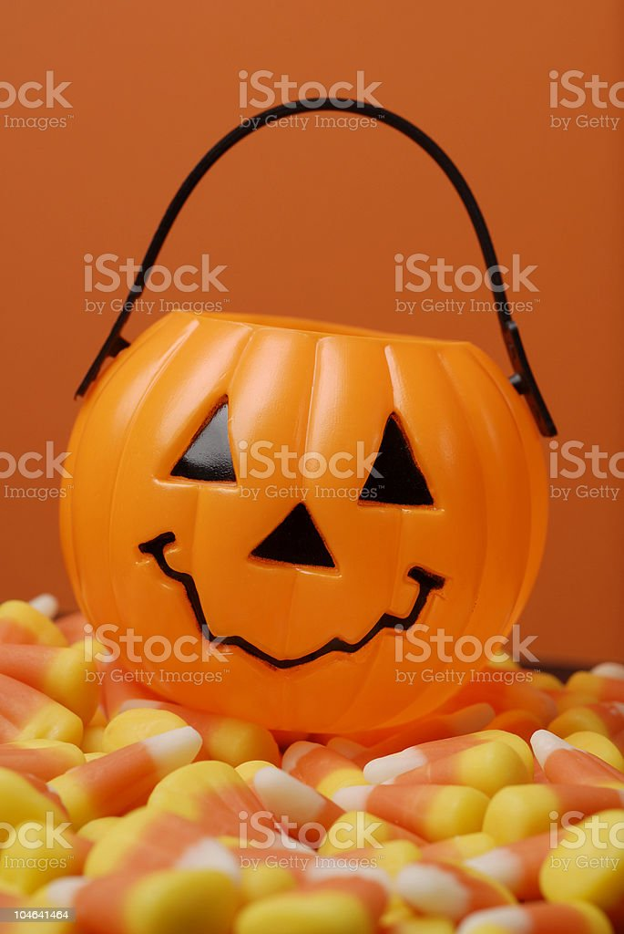 Pumpkin with Candy Corn royalty-free stock photo