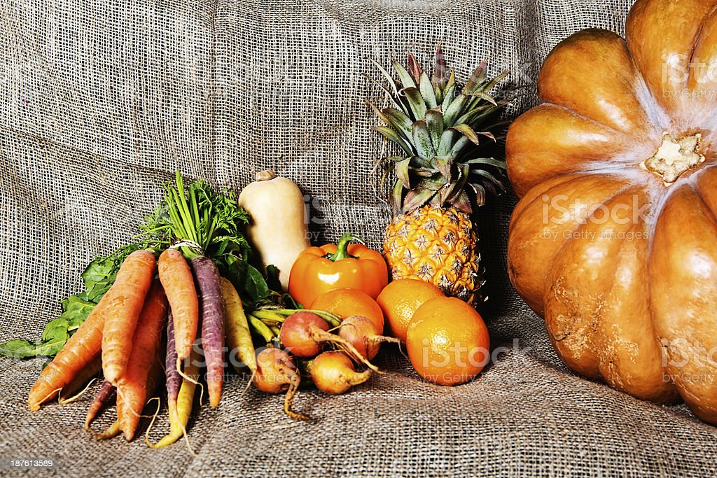 Pumpkin,carrots, tomatoes and even more glorious golden goodness royalty-free stock photo