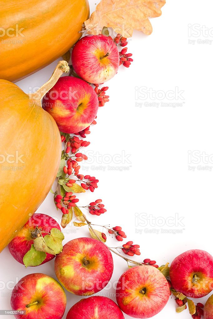 pumpkins and apples royalty-free stock photo